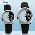 100% Genuine Disney Pair of Couple Quartz Wrist Watch Leather Belt Fashion Lovers Watches for Men Women Wristwatches
