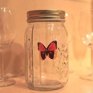 HOT new Sound Activated Animated Electronic Senor Monarch Swallowtail Butterfly in Jar glass bottle
