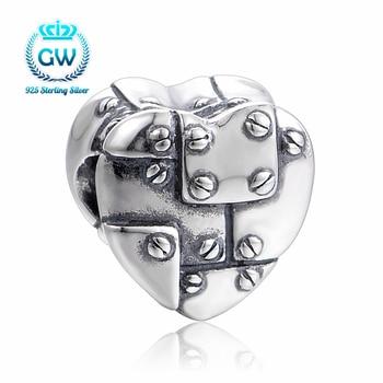 2017 Novo Proprietário Estilo Punk Projeto do coração Bead Fit pandora pulseira de prata 925 original Diy para fazer Jóias das Mulheres T214