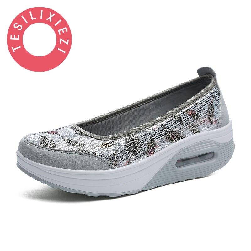 TESILIXIEZI New Spring Summer Fashion Candy Color Bling Flats Platform Shoes Wegde Breathable Women Casual Shoes Footwear