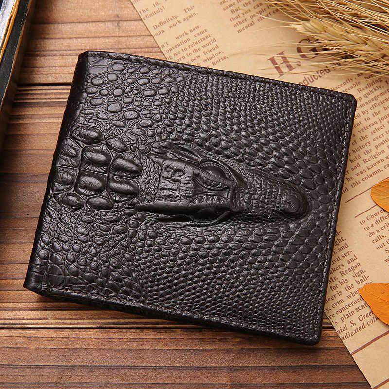 92ec35544918 Fashion Brand Men Wallets Genuine Leather Crocodile Pattern Men Purse  Bifold Design Wallet Alligator Money Bag Card Holder