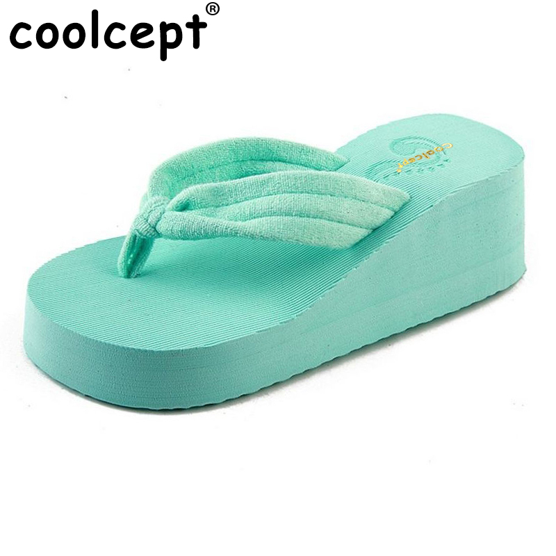 Coolcept high heels women flip flops summer sandals platform wedges slippers girl pure color beach shoes size 36-40 WA0753 e toy word summer platform wedges women sandals antiskid high heels shoes string beads open toe female slippers