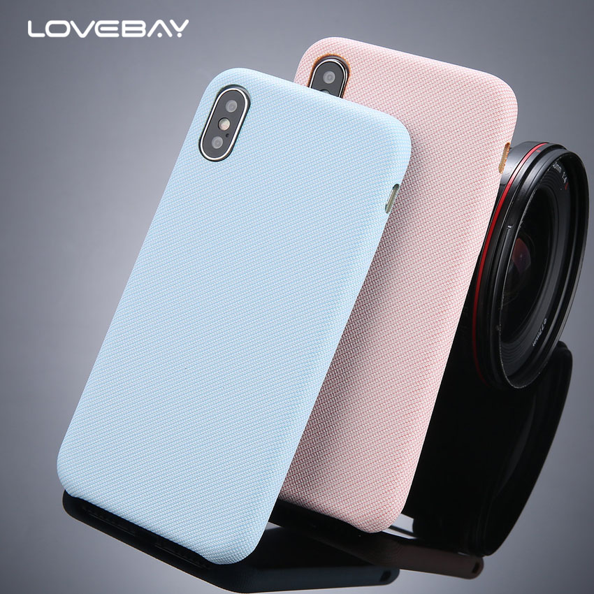 Lovebay Candy Color Case For iPhone 6 6s Plus Denim Skin Cloth PU Leather Hard PC Phone Back Case Cover For iPhone X 8 7 6S Plus