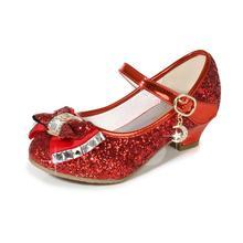 Girls Dress Shoes for Wedding Kids Princess Sandals High Heels Sequin Girls  Leather Shoes Children Bowtie be270d6763a8
