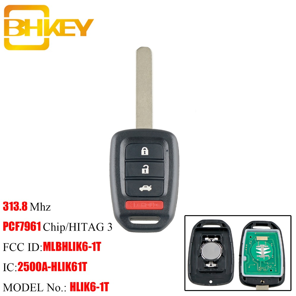 BHKEY 3+1Buttons Remote key For Honda MLBHLIK6-1T 313.8Mhz PCF7961 Chip For Honda Accord Sport Accord LX Civic 2013 2014 2015 BHKEY 3+1Buttons Remote key For Honda MLBHLIK6-1T 313.8Mhz PCF7961 Chip For Honda Accord Sport Accord LX Civic 2013 2014 2015