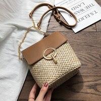 Соломенные сумки-ведро для женщин 2019 летняя новая модная сумка через плечо женские маленькие кошельки и сумки женские дорожные сумки-мессе...