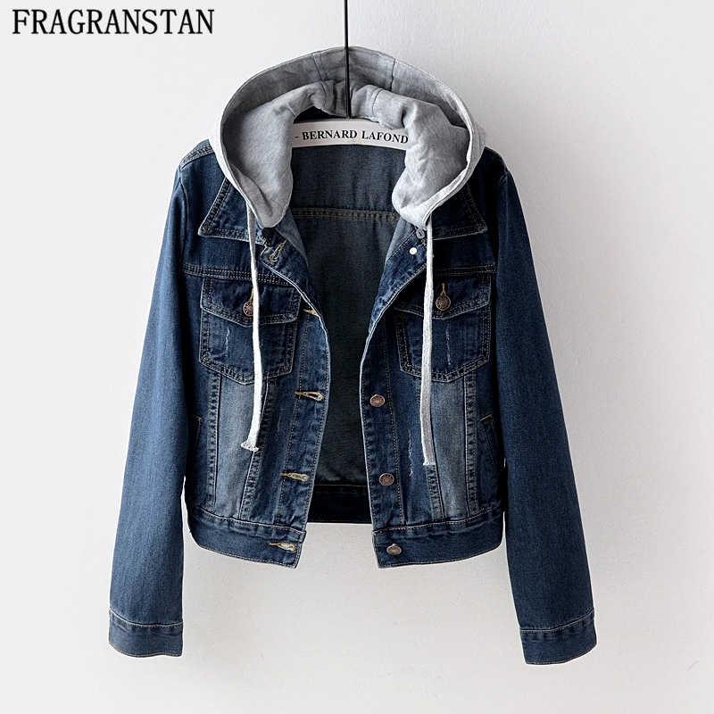 2018 женские весенне-осенние новые короткие джинсовые куртки с капюшоном женские свободные большие размеры пальто Студенческая Повседневная Верхняя одежда с длинными рукавами LY558
