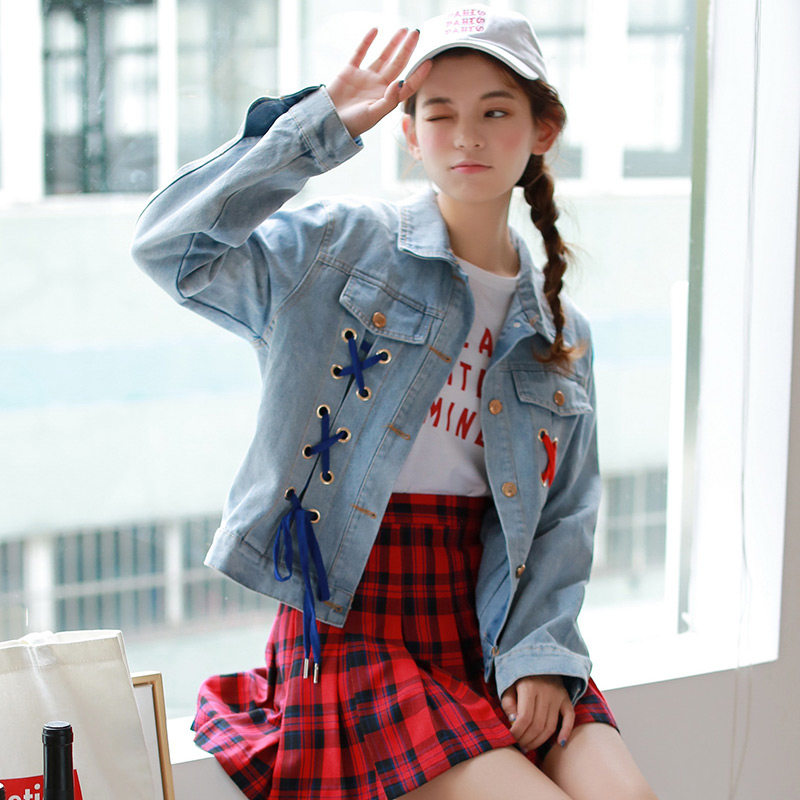2018   jacket   coat women autumn winter Lace up denim Vintage button   basic     jacket   Loose cross pocket jean   jacket   outerwear