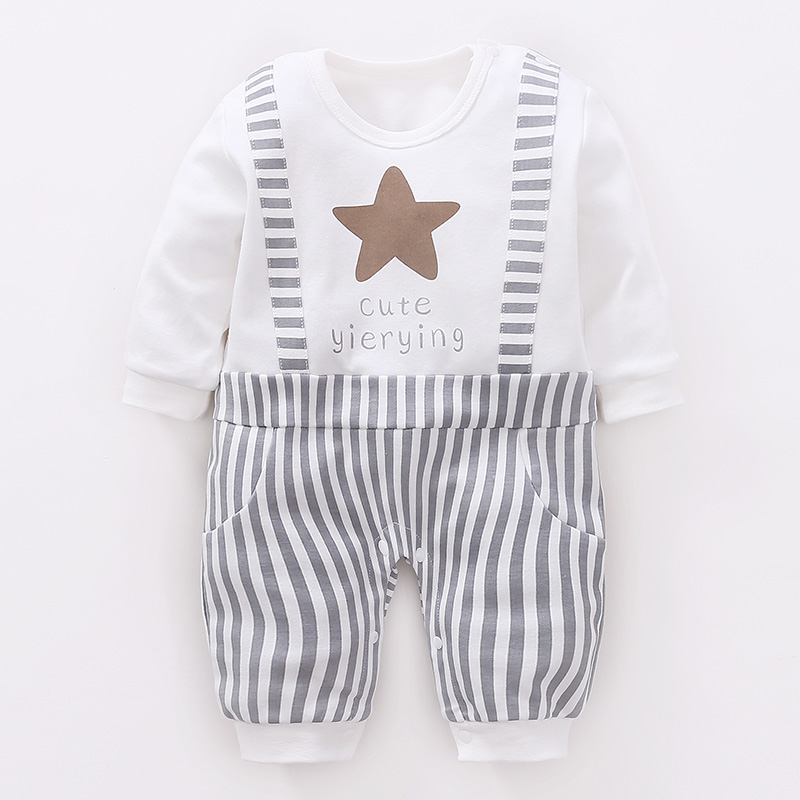 YiErYing Newborn Clothing Baby Fashion 100% Cotton Star Print Baby Boy   Romper   Leisure Baby & Toddler Clothing Infant Jumpsuit