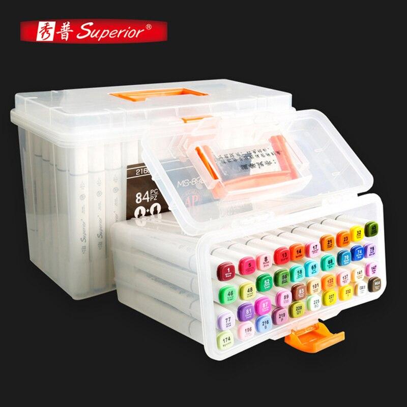 Marqueur supérieur 40/60/84/216 couleurs Art marqueur Set marqueur alcoolique huileux double tête artiste croquis marqueurs stylo pour livraison directe