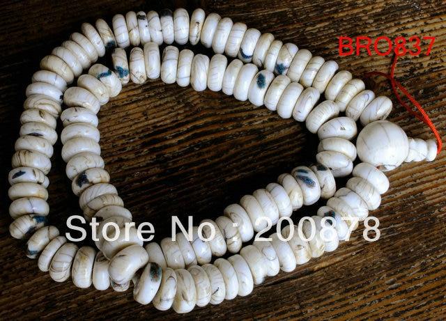 BRO837 Tibetan 108 beads old Conch shell Prayer Mala Necklace,14-15mm,Tibet Buddhist Tridacna beads,Free shipping
