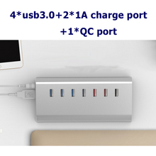 4 ports USB3.0 HUB with power supply+2*1A charge port+ 1*QC2.0 with usb extension support 6Tb HDD