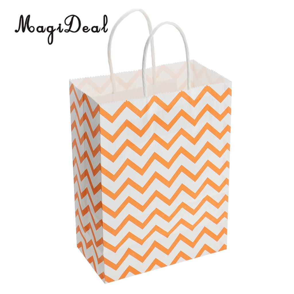 12x Vintage Wave Paper Shopping Bags Merchandise Gifts Bags with Rope Handdles for Halloween Christmas Birthday Party