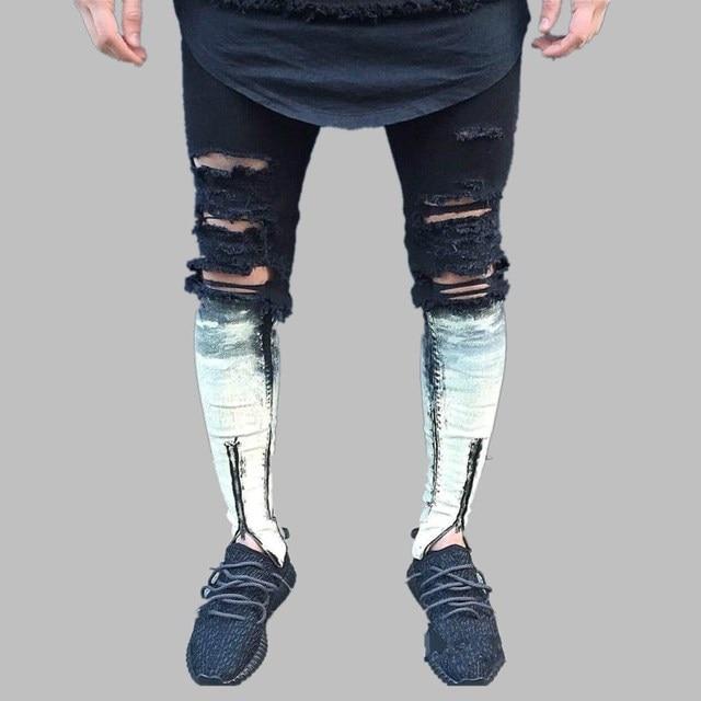 6c3e9ada286 Korean Style Skinny Jeans Men 2017 Brand Designer Rock Moto Distressed Slim  Fit Elastic Jeans Denim