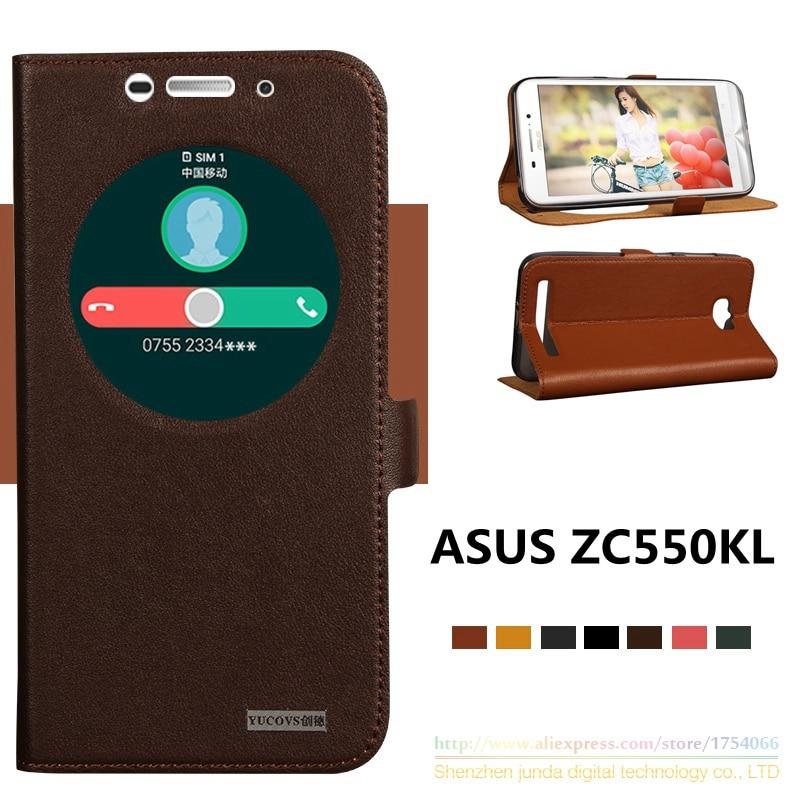 imágenes para De calidad superior cuero genuino natural imán ventana cubierta del soporte del tirón para asus zenfone max zc550kl 5.5 ''luxury teléfono móvil