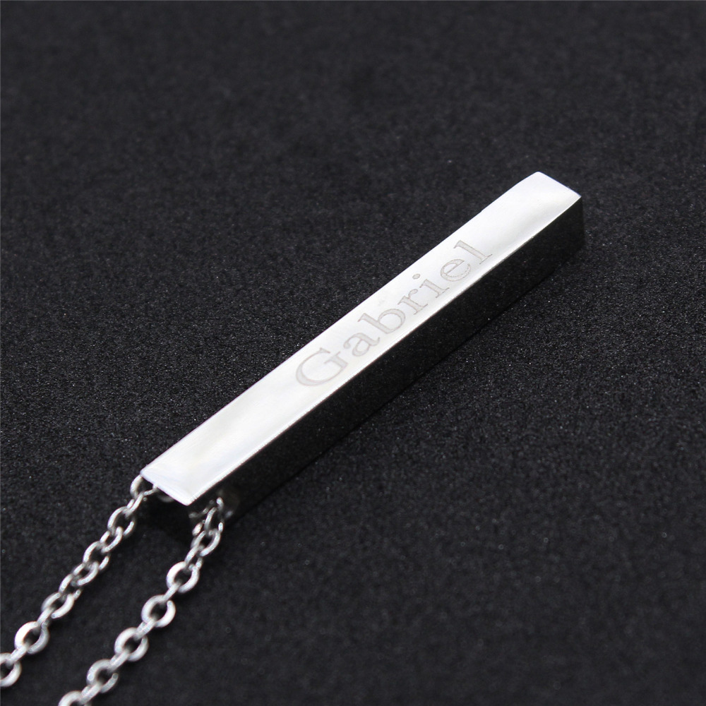 Four Sides Engraving Personalized Square Bar Custom Name Necklace Stainless Steel Pendant Necklace Women/Men 5