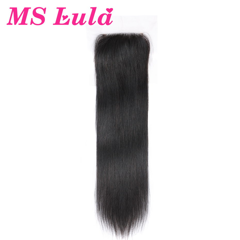 MS Lula Hair 4x4 Lace Closure Peruvian Remy Hair Straight Baby Hair Human Hair Extensions Natural