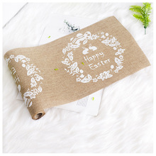 Nordic Style Easter Linen Table Flag Easter Bunny Egg Printing Table Runner Home Holiday Decoration 270x28cm