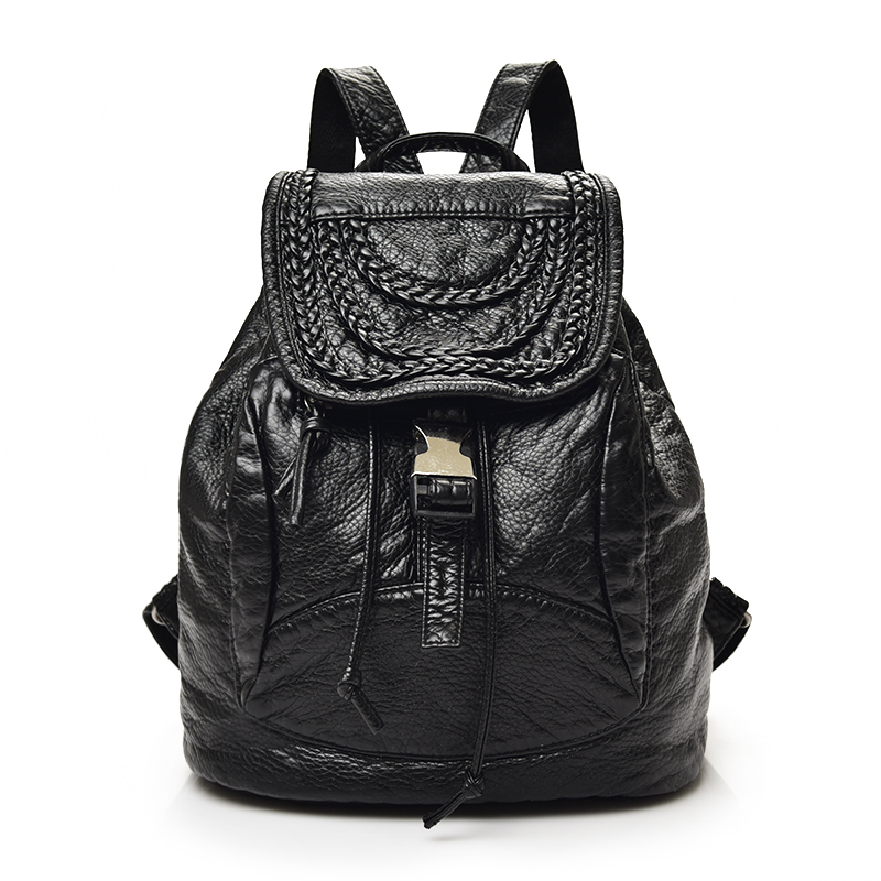 ФОТО New 2017 washed leather backpack Preppy style black soft leisure bag Men and women's fashion travel bag school bag for boys