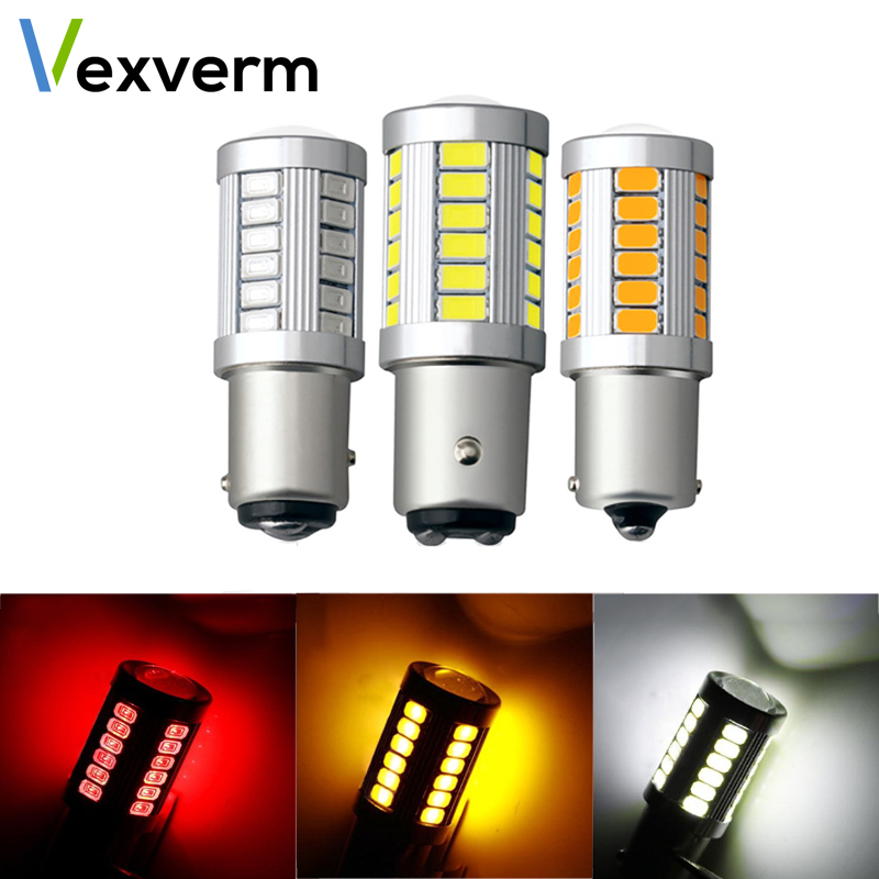 Vexverm Auto LED Brake Light Car Rear Fog Lamp COB DRL LED Turn Signal Light Bulb 1156 1157 P21W BA15S 33 SMD 5630 5730