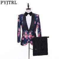 PYJTRL Marca Nuevo Estilo Para Hombre de Moda Floral Print Trajes de Boda Clásico Mantón de la Solapa Del Novio Esmoquin Últimas Bragas de la Capa Diseña 2017