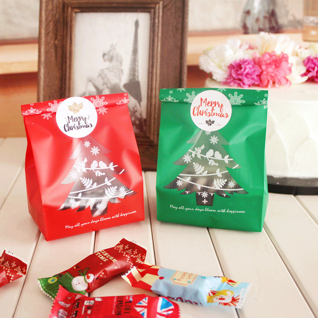200 x red green frosted christmas tree candy gift bags cookie