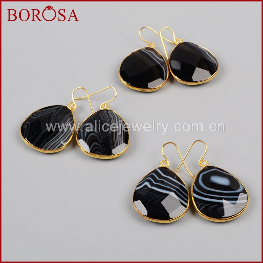 BOROSA Alicejewelry Store BOROSA Elegant Gold Color Natural Drop Onyx Black Crystal Faceted Slice Dangle Earring For Women G1002