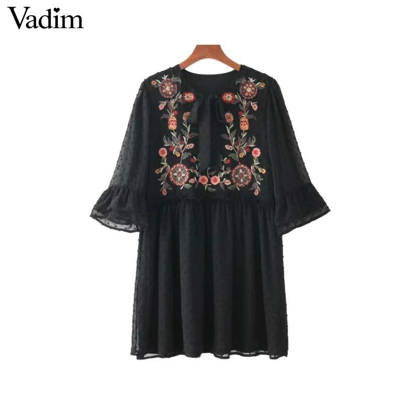 Vadim women bow tie floral embroidery chiffon dress ruffles flare sleeve pleated casual retro dresses vestido mujer QZ3213