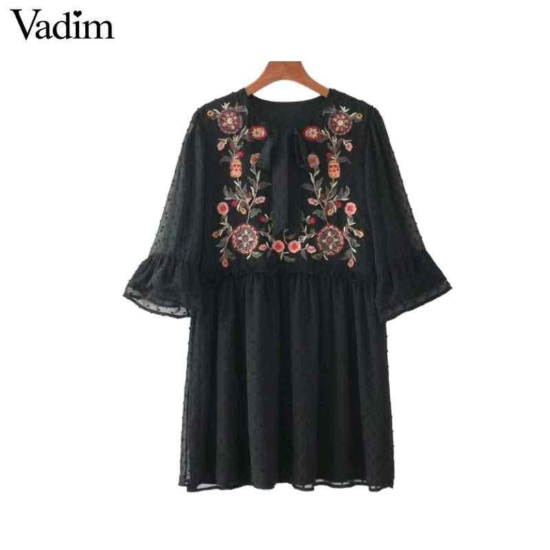 Vadim femmes noeud papillon floral broderie mousseline de soie robe volants flare manches plissée décontracté rétro robes vestido mujer QZ3213