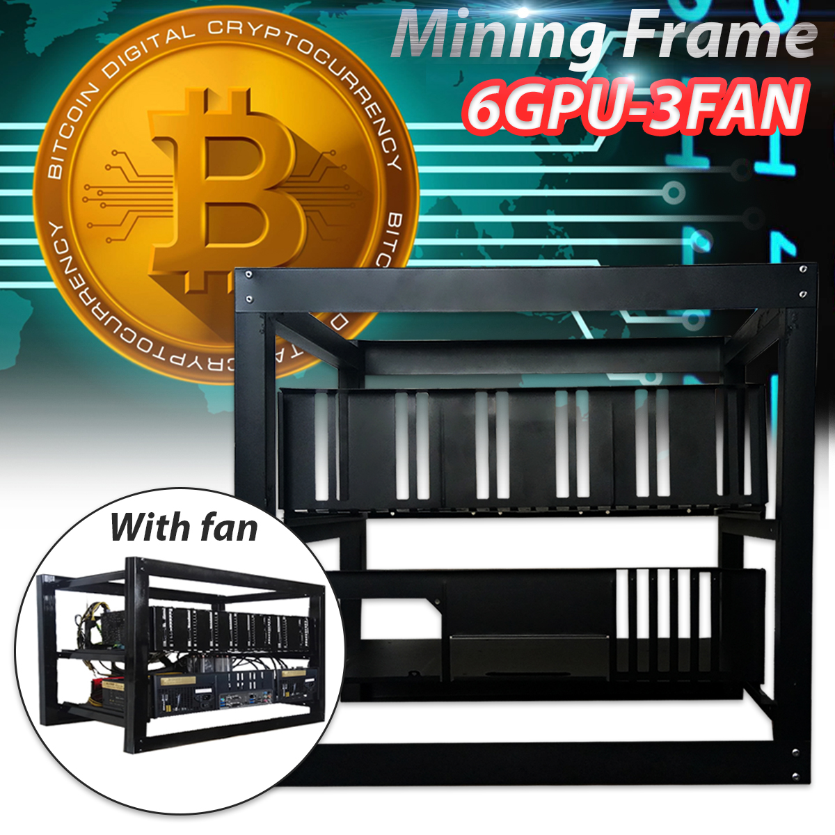 6 GPU Open Pit Mining Rig With 3 Fan Mining Rig Aluminum Stackable Case Open Air Frame ETH/ZEC/Bitcoin