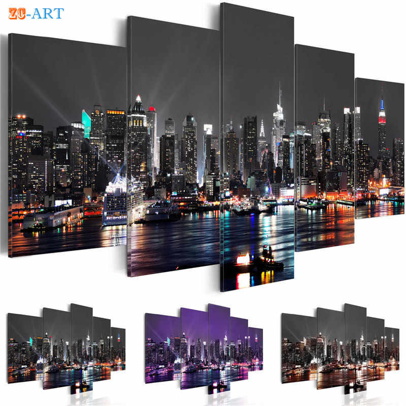 New York City Construction Scenery Print Canvas Art 5 Panel Night View Poster Landscape Modular Wall Picture Room Decor