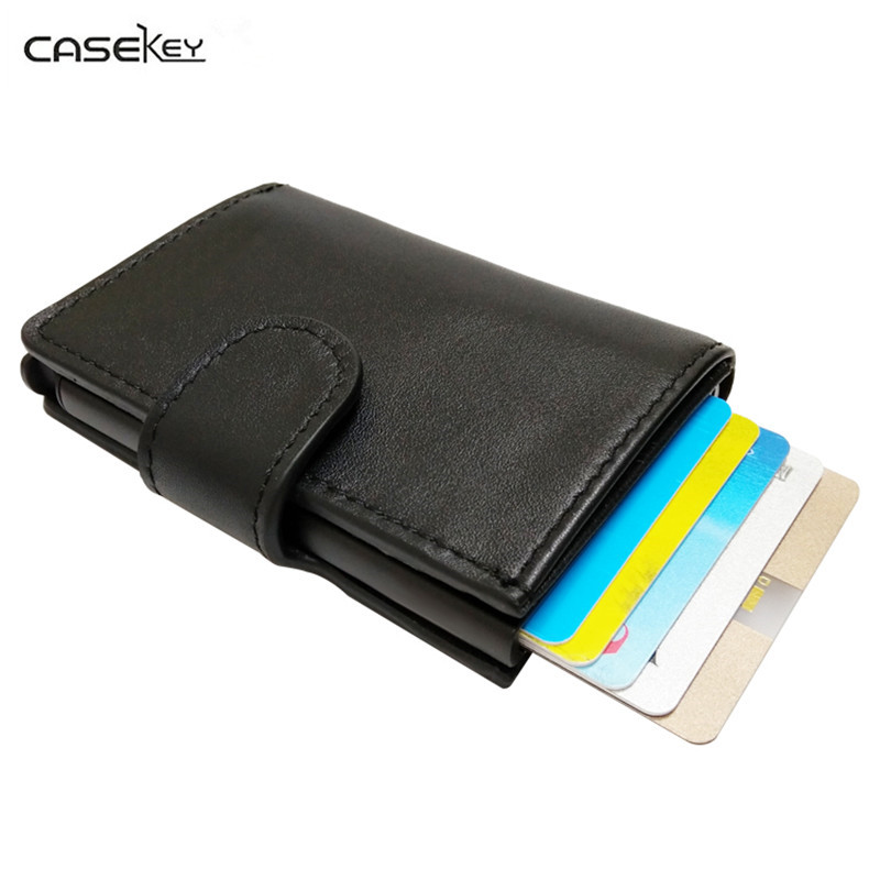 CaseKey Antitheft Men Wallet Genuine Leather Mini RFID Wallets Automatic Aluminium Credit Card Holder Pop Up Credit Card Case brooklyn bridge pop up card 3d new york souvenir cards