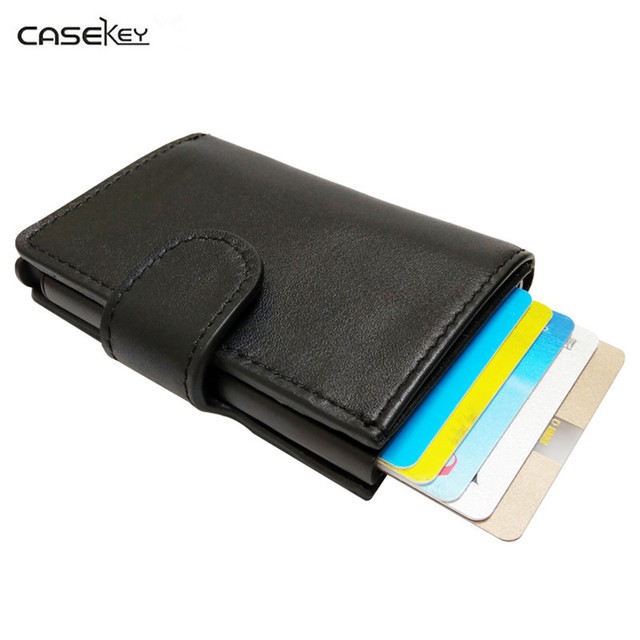 premium selection bd1f2 4b6b8 US $38.56 35% OFF|CaseKey Antitheft Men Wallet Genuine Leather Mini RFID  Wallets Automatic Aluminium Credit Card Holder Pop Up Credit Card Case-in  ...