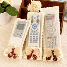 3pcs/set Dust-proof Bowknot TV Remote Control Case Air Condition Cover Textile Protective Bag Protector