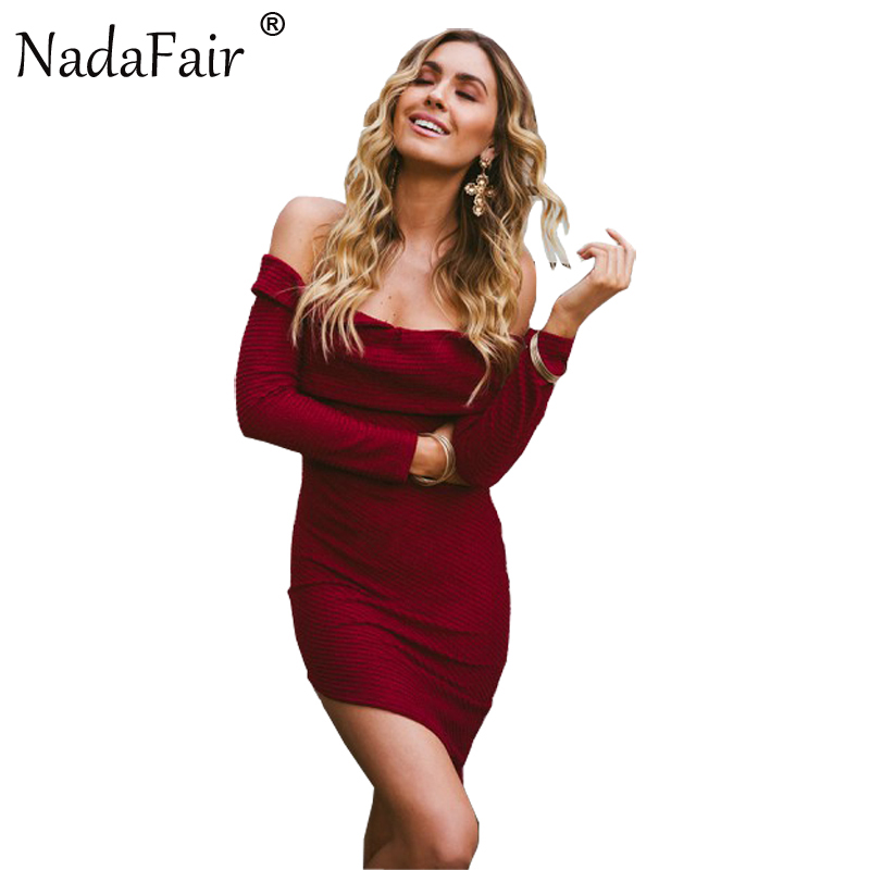 Nadafair Long Sleeve Off Shoulder Irregular Knitted Sweater Dress 2017 New Autumn Sexy Club Bodycon Party Dresses fashion new korean style off shoulder and irregular hemline design dress