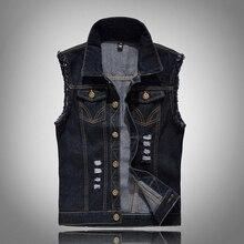 b Spring Autumn Denim Vest Mens Jackets Sleeveless black Outerwear mens denim Coats jackets Tank Top Cowboy Male Ripped Jacket цена