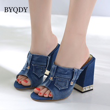 BYQDY Fashion Black Blue Denim Women Sandals Open Toe High Heeled Casual For Grils Beach Avenger Shoes Size 40