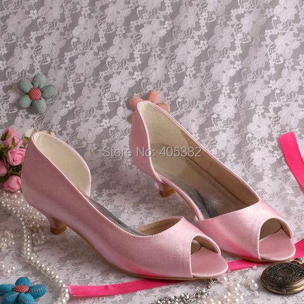 Wedopus MW772 Custom Heel Pink Low Heel Wedding Dress Shoes Satin Heels Low  Open Toes-in Women s Pumps from Shoes on Aliexpress.com  c3042c86cf15