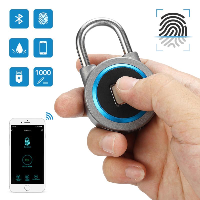 USB Rechargeable IP65 Waterproof Smart Keyless Fingerprint Lock Anti-Theft Security Padlock Electronic Door Lock