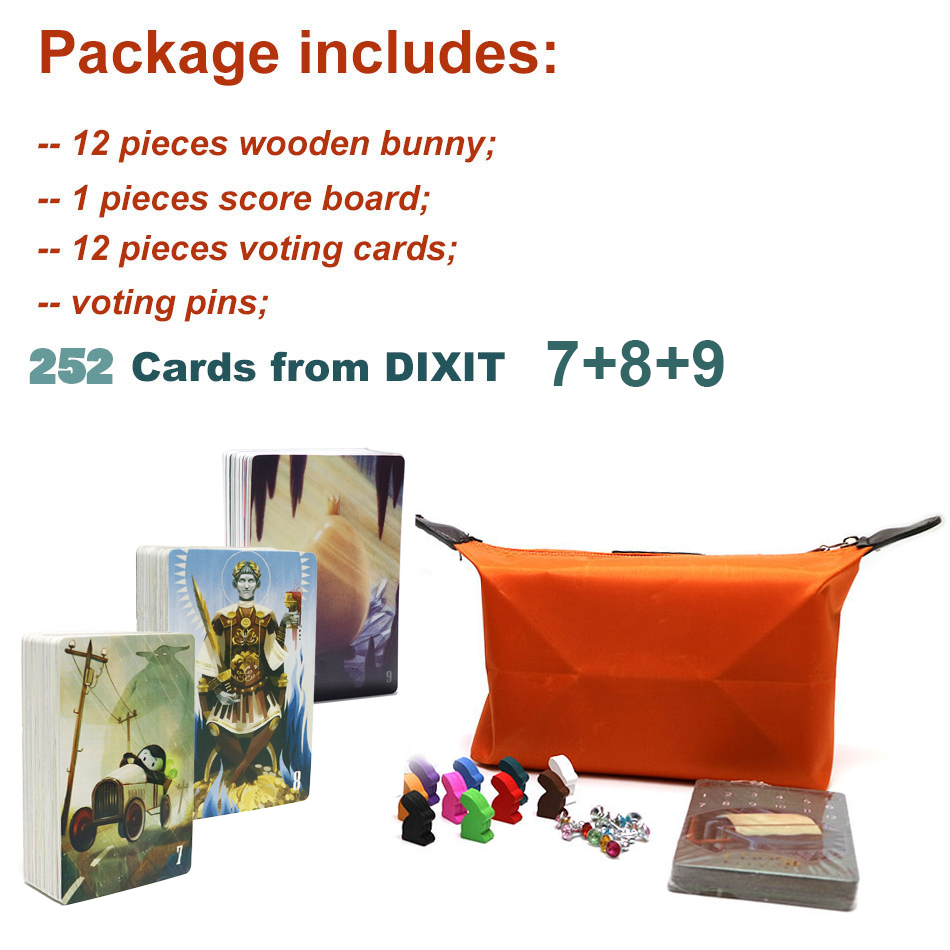 Dixit Board Game Deck 1 2 3 4 5 6 7 8 9 With Wooden Bunny Russian & English Rules Cards Game For Kid Home Party Fun 252 Cards