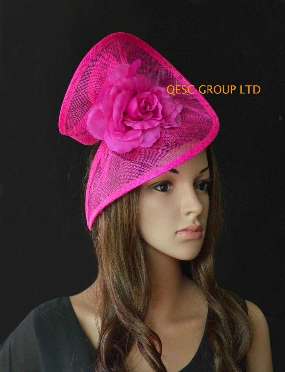 Fuchsia hot pink Sinamay fascinator hat in SPECIAL shape with silk flower for Melbourne Cup Ascot