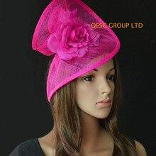 Фуксия, ярко-розовый головной убор Sinamay шляпа в особой форме с шелковым цветком для Кубка в стиле «колокольн», Аскот рас, свадьбы, Кентукки Дерби