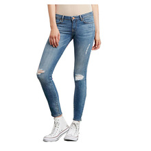 Women Retro Light Washed Pencil Jeans Casual Ripped Hole Elastic Plus Size Ankle Length Skinny Denim Pants