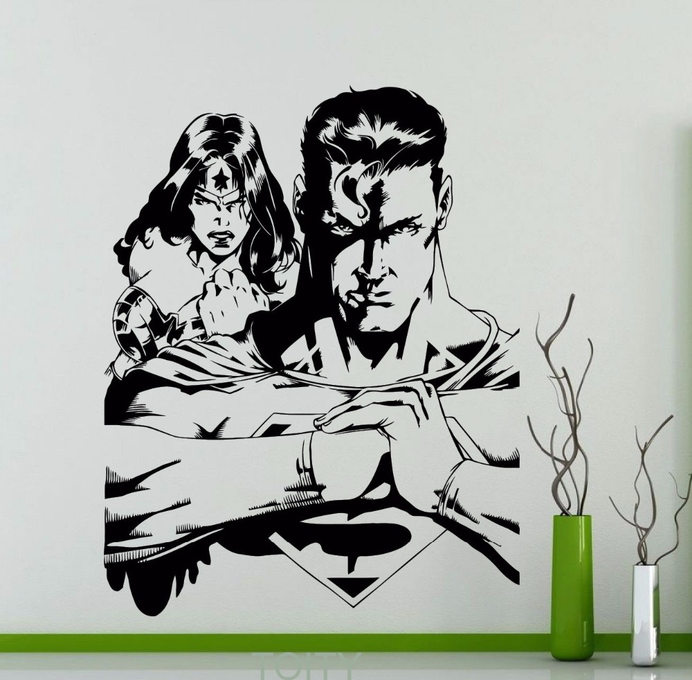 Superhero man and Wonder Woman Wall Decal DC Marvel Comics Vinyl Sticker Home Teen Boy Room Interior Decor Nursery Art Mural