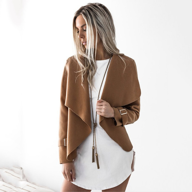 Spring Summer 2019  women Fashion New suede jacket short paragraph Lapel woolen Slim basic Jacket coats female Jackets Womens