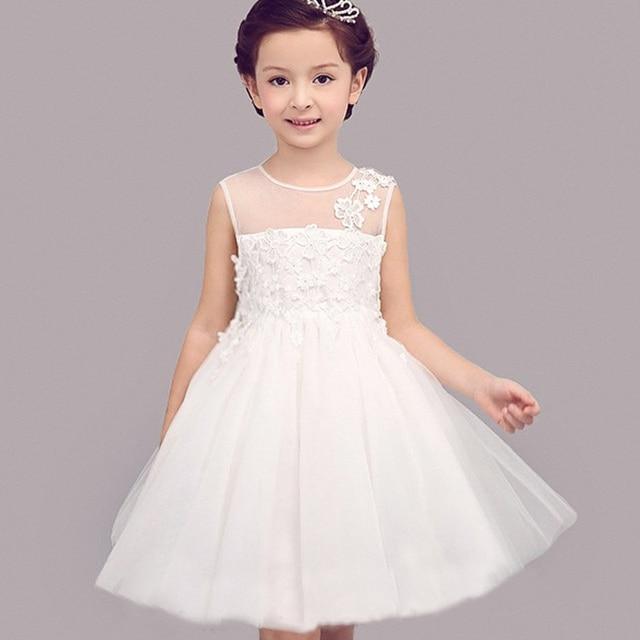 White Wedding Dresses For Little Girl Adorable Flower Girls Lace Kids Big Bow Princess Dress