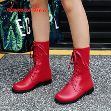 ANMAIRON 2019 Women Boots Square heel Round Toe PU Lace-Up Work Safety fashion mid-calf boots Short Plush women shoes size 34-43 цены онлайн