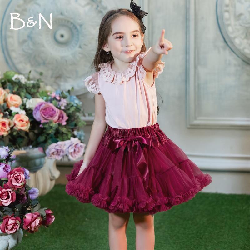 Új 2014 Hot 4 Colors Vintage Ezüstszürke / Bor / Navy kék / Dusty Pink Baby Fluffy Pettiskirt Girls Tutu Skirt Kids Petticoat