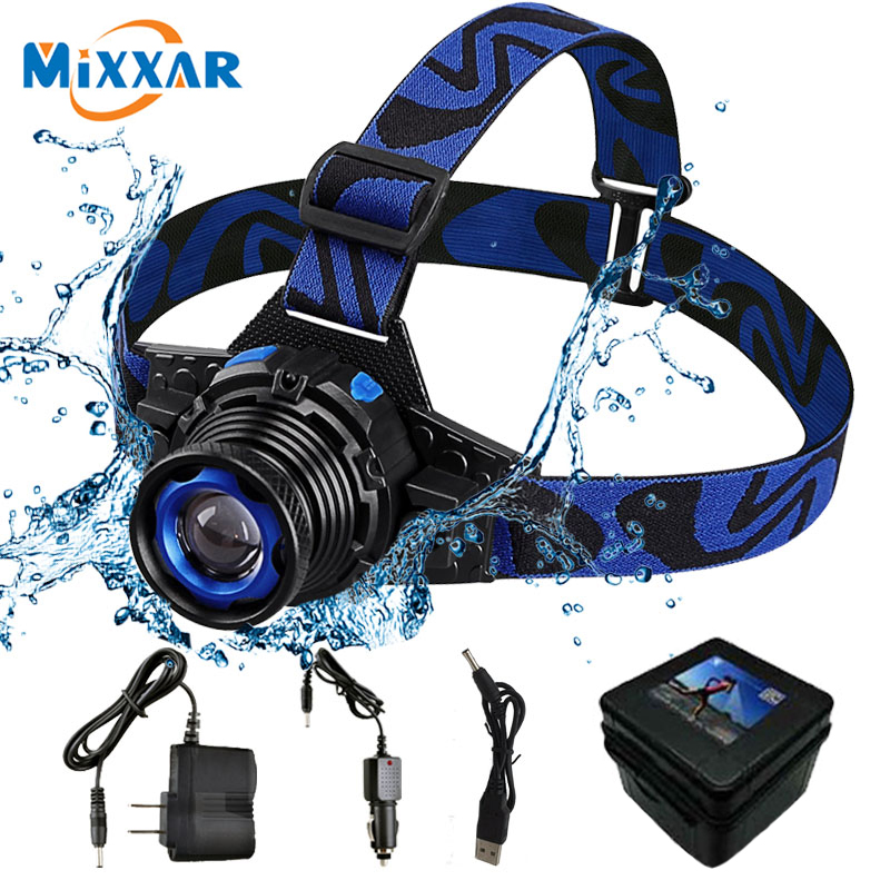 RU 3 Modes Zoomable LED CREE Q5 Headlamp Waterproof High Brightness Built-in Lithium Battery Rechargeable Headlight for Climbing