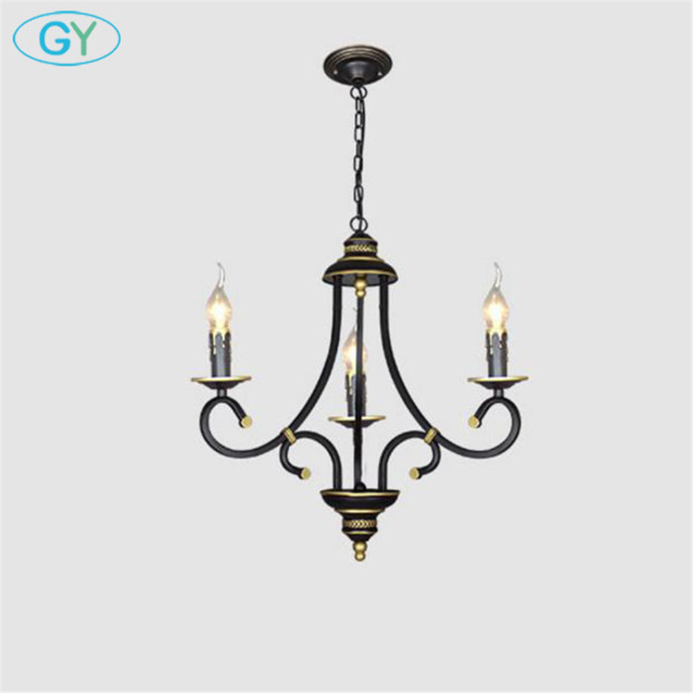 3-light Europen style iron chandelier Rustic chain hanging lamps lustre foyer chandeliers E14 candle home lighting multiple chandelier lights blue iron candle lamps bedroom lamps rustic lighting 3 heads hotel lighting lamps